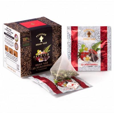 Русский Иван-чай Premium да земляника с травами 24 гр 12 пирамидок в саше-конвертах