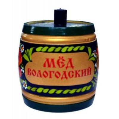 Мёд Вологодский цветочный 800 гр. в бочонке Роспись